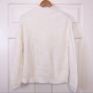 Gap Heavy Shaker Knit T Neck Cream Sweater